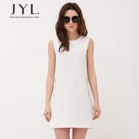New 2014 JYL FASHION simple design sleeveless plus size women clothing white dress,zip pockets women summer dress vestidos