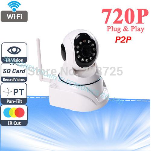 High Quality HD 720P IP Camera Wireless Wifi with Pan/Tilt SD Card Slot 1.3 MegaPixel CMOS LENS and IR Cut 720p(1280x720)(China (Mainland))