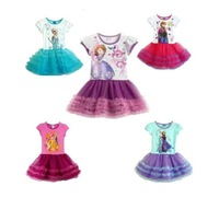 Children's Clothing 2-6yrs Girls' Frozen kid's 2014 cartoon  summer dress girl's tutu girl's princess dress