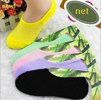 Free Shipping 24pcs=12 pairs/lot  Bamboo fiber Womens candy colors invisible Socks, anti- slip, net,boat,cheap and good qualtiy