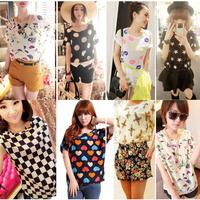 Women Chiffon Blouses T Shirts Tops Loose Short Sleeve  Ladies T-shirts Blouses Striped Heart Lip Freeshipping