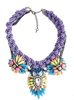 JC 2014 color woven rope declare women necklace and pendant Shourouk large and thick resin rhinestone chain to soar