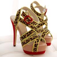 Female High-Heeled Shoes Thin Heels Open Toe Sandals Women Fashion Platform Shoes Single Leopard Print Cross Straps Sandal shoe