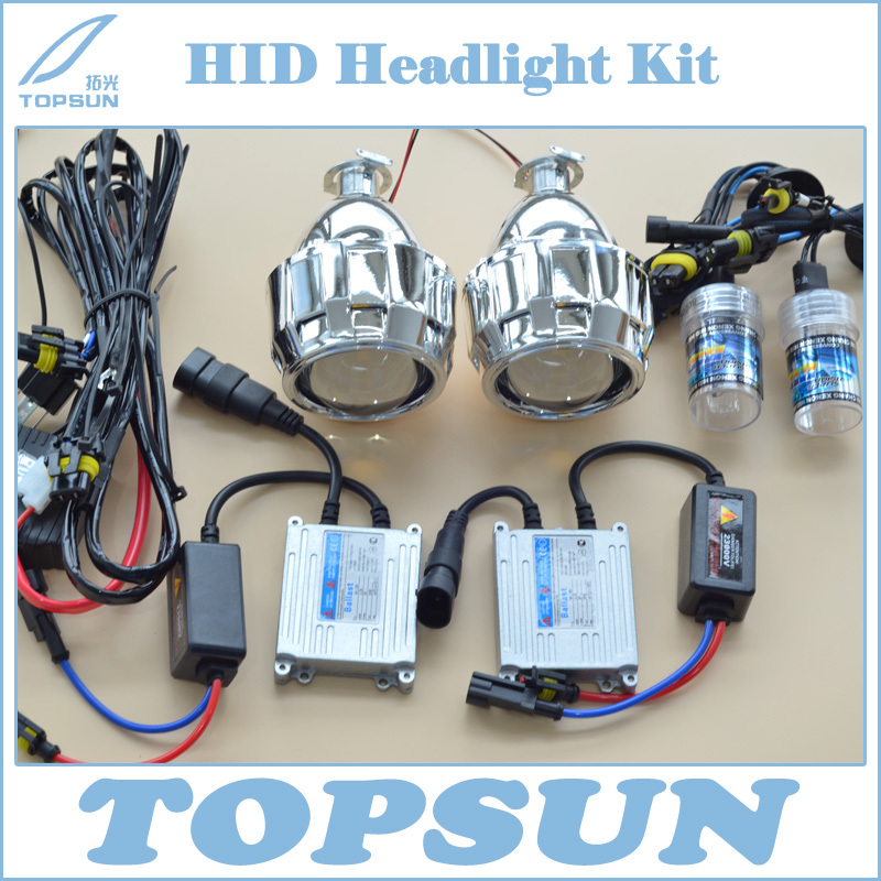 """Car Styling HID Headlamp Retrofit Kit Contains H1 35W Xenon bulb, Ballast, 2.5"""" Projector Lens, Shroud and CCFL Angel Eye, Wire(China (Mainland))"""