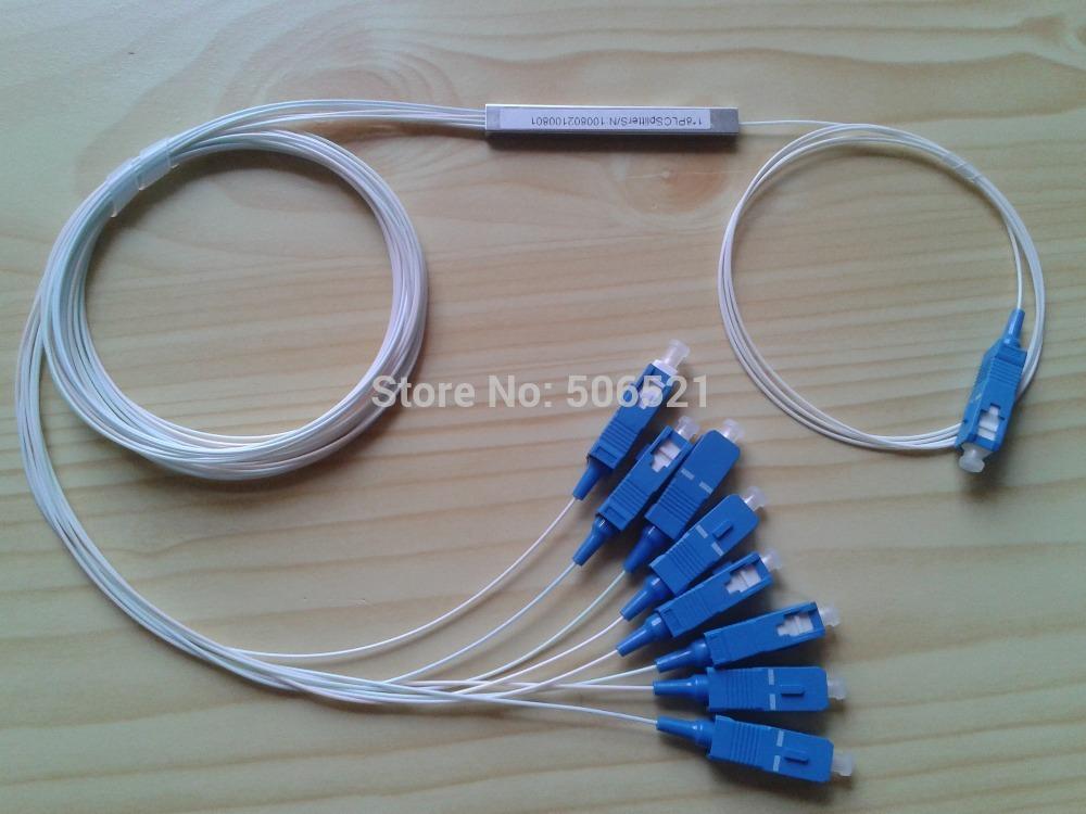Free Shipping plc box EPON, GPON, FTTH fiber optic 1x8 PLC splitter apc lc sc fc st be choosed(Mini type)(China (Mainland))