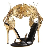 Gold Cut-outs butterfly summer Sandals luxurious Spike High heel pumps Slingback bowtie women shoes size 33-42