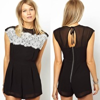 Fashion New 2014 Summer Woman Sexy Lace Sleeveless Cusual Jumpsuits Ladies Cutout Backless Evening Club Playsuits Free Shipping