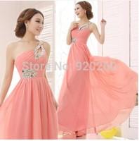 2014 Sexy One Shoulder Long Evening Dress Beaded Sequined Prom Gowns Elegant Celebrity Dresses Carpet Vestido De Festa Cheap