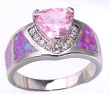 Luxury Wholesale Jewelry Pink Fire Opal & Pink Topaz Zircon 925 Silver Stamp Ring Size #5 / #6 / #7 / # 8 / #9 / #10 OJ5283