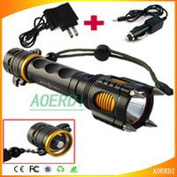 Large Power CREE XM-L T6 LED 1600 LM Flashlight Torch Rescue Self-defense Shocker Lanterns torch+ AC +car charger