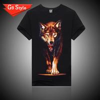 2014 summer new men cotton short-sleeved 3D t-shirt men's sport shirts for men 5 size wolf design wholesale