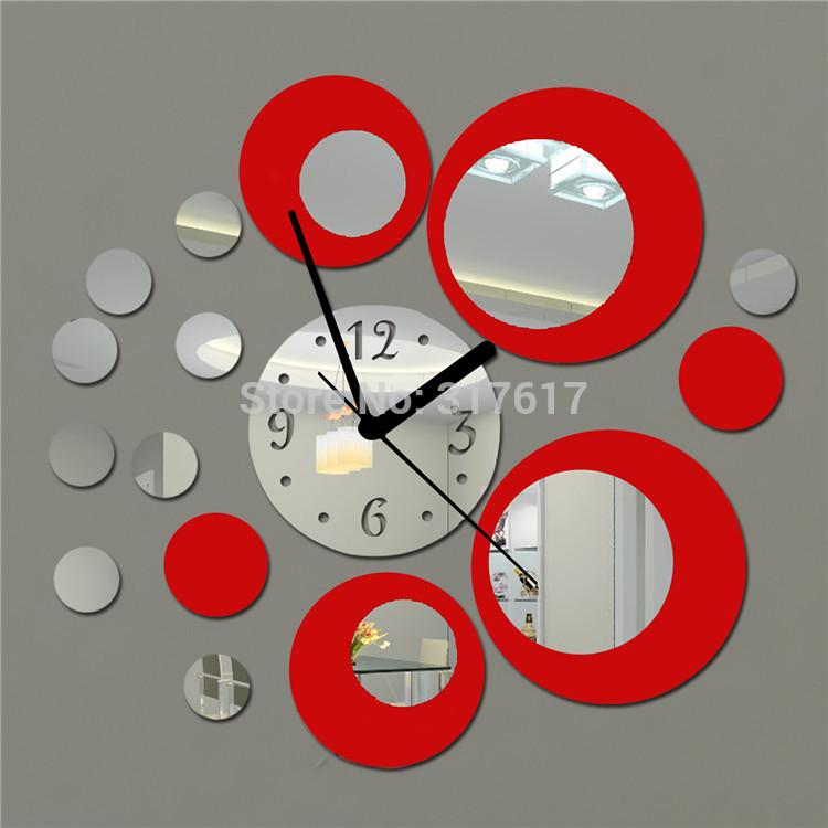 Red and Silver Circles Mirror Wall Clock Modern Design Acrylic Round Wall Mirror diy Watch Wall Decals(China (Mainland))