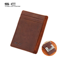 Free Shipping Leather Credit Card Holder Crazy Horse leather Vintage Card Case+ Leather Money Clip