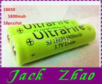 Wholesale 10pcs/lot 18650 rechargeable batteries 3.7v 5800 mAh Lithium li-ion battery for led  Flashlight batteri batery