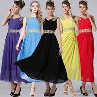 New Summer Women Maxi Long Chiffon Floral Beach Ball Gown Evening Party Dress