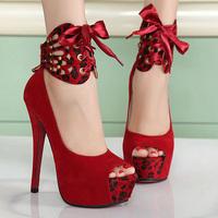 Sexy Women's brand  leopard print  high-heeled shoes thick heel open toe shoes platform sandals platform female shoes