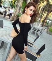 2014 Hot Sale Women Sexy Bandage Dresses Slash Neck Long Sleeve Package Hip Bodycon Dress, Black, M, L, XL
