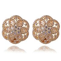 Free shipping New AAA Cubic Zirconia Wedding Earrings Women Deluxe Flower Earrings 302 pcs of CZ Allergy Free Cadmium Free