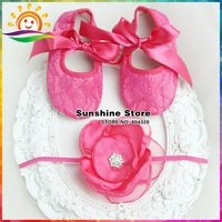 Sunshine store #2B1925 4 set/lot Baby Flower Rhinestone Headbands and Satin Soft sole Chiffon lace-up Crib Shoes set, Photo Prop