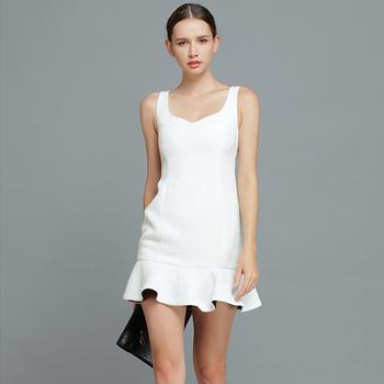 YIGELILA 6514 Women Hot Style Sleeveless Ruffles Hem Party Prom Dress Free Shipping