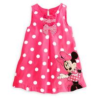 2015 New Fashion Cute Kids Children Girls Cartoon Summer Dress Girl's Minne Sleeveless Dress