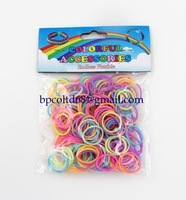 100 packs/lot 2014 new rubber band glow in dark loom bands  300pcs + 12 S clip + 1 hook wholesale