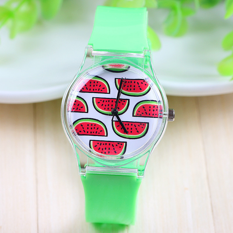 7 Styles New Arrival Jelly Silicone Watermelon Fruit Quartz Watch Plastic Women Charm Dress Watch Green Color Silicon Band(China (Mainland))