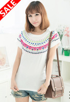 Exclusive starting spring/summer 2014 new han edition of national wind batwing coat short sleeve T-shirt fashion garment