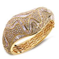 CZ Cubic Zirconia Bangle Marriage Great Design Hot Heavy Brass Women Jewelry Channel Setting Big Grand Luxury 2014 - VC Mart