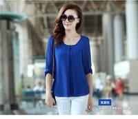 2014 New Arrive Women Summer Fashion Candy Color Blouses  Full Sleeve Chiffon Blusas Casual Shirt Top Plus Size  XXL XXXL XXXXL