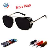 With Box 1pcs 2014 New Fashion Sun Glasses For Men Steampunk Iron Man Motocross Goggle Sunglasses Mens Brand Designer