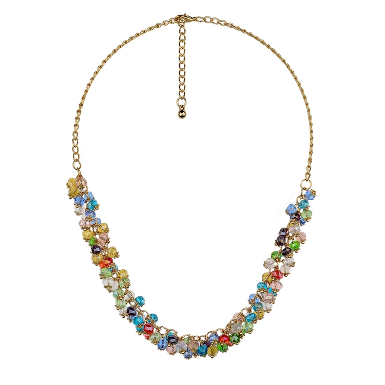 Wholesale Fashion 2014 Necklace New Arrival Gold Plated Chain Necklace Women Natural Stone Black Necklace SNE140271(China (Mainland))