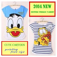 New 2014 Summer Woman Cartoon printed Cotton bat sleeve T-shirt  Free shipping
