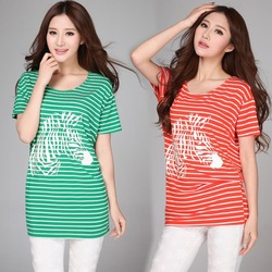 2014 Summer Plus Size Loose Stripe T-Shirt Gangnam Print Casual Batwing Sleece Women's Tops