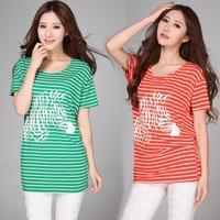 2014 Summer Plus Size Loose Stripe T-Shirt Gangnam Print Casual Batwing Sleece Women's Tops