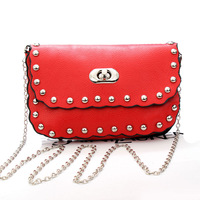 New 2015 Fashion Women Messenger Bags Candy Rivet Bag Mini Lady Shoulder Cross body Bag Chain Small bag Free
