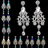 Zinc Alloy Platinum Gold Plated Big Crystal Rhinestone Plant Wholesale Drop Earrings Flower Fashion Women Bridal Wedding Jewelry