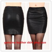 New 2014 Fall Genuine Leather Saia Women Short Skirt Slim Hip Winter Female Elegant Sheepskin Basic Skirt Plus Size