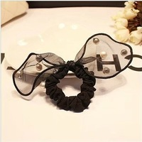2014  HOT fashion girl  lace rabbit ear bow hair band  hair rope accessories pearl  hairband hair ties ponytail holder wholesale
