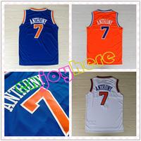 Free Shipping Cheap Basketball Jersey Embroidery Logos NY Carmelo Anthony Jerseys Blue White And Orange Jerseys