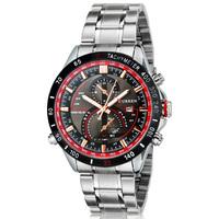 Curren Silver Stainless Steel Wristwatch Analog Display Date Quartz Sport Military Watch Luxury Brand Casual Men Watch