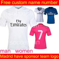 Real Madrid  soccer jersey   2015  thailand quality  # 7 Ronaldo  Isco Ozil  home jersey  Futbol Shirt Romas Bale Casillas Jese