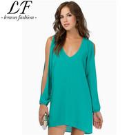2014 Women Long Sleeve Chiffon Dress Open Sleeve Solid Color Dress Cut Out Design Nightclub Dress