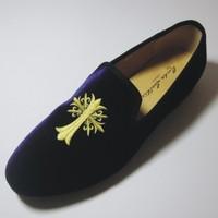 New 2014 Fashion Handmade Men Velvet Loafers Designer Brand Men's Flats Vintage Slip-On Loafer Embroidery Shoes Smoking Slipper