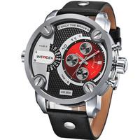 WEIDE WH3301 Men Sports Military Watches Quartz Luxury Fashion Brand Leather Strap Watch Waterproofed Oversize Wristwatch