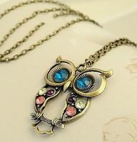 Fashion Vintage Artificial diamonds Hollow Cute Owl Necklace Sweater Chain xl014