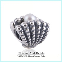 Pearl Shell 925 Sterling Silver Threaded Charm Beads DIY Bracelets Jewelry Making Fits Pandora Style Bracelets Bangles