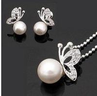 Fashion Jewelry high quality  Butterfly Necklace& Earrings set,wholesale fashion jewelry TZ0001
