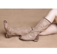 Hot Cheap Single Boots Open Toe Female Spring And Autumn 2013 Cutout Net Boots Knitted Boots High-Leg Boots
