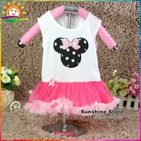 Sunshine Store #7A0158 3 pcs/lot  Mickey Girls Dresses Ruffle Baby Rompers Tutu Dresses Cartoon Sundress Clothes Baby Boutique
